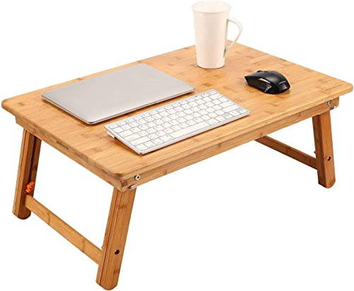 Large Size Laptop Tray Desk Newvante Foldable Bed Table Tray, Coffee/TV Desk 100% Bamboo Breakfast Serving Tray Gamin...
