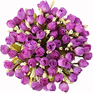 15 Heads Artificial Rose Buds Silk Flowers Mini Bouquet for Home Office Wedding Floral Decoration Purple