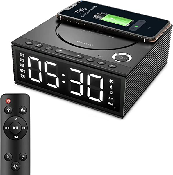 Htterino Wireless Charging Alarm Clock Bluetooth Speaker With Remote Control FM Radio USB Port TF Card AUX In Snooze LED Display Hands Free Calls And DIY Ringtone For Bedroom Color Black
