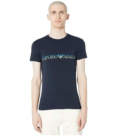 Emporio Armani Megalogo Singles Short Sleeve Crew Neck T-Shirt (Marine) Men
