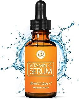 Das beste Vitamin C Serum für Ihr Gesicht mit 20% Vitamin C  Hyaluronsäure  Vitamin E  Jojobaöl. Natürliche AntiAging  Anti Falten  Bio Kollagen Booster Gesichtsserum mit organischen Inhaltsstoffen. Ideal für den Einsatz mit einer Derma Roller. 30 ml