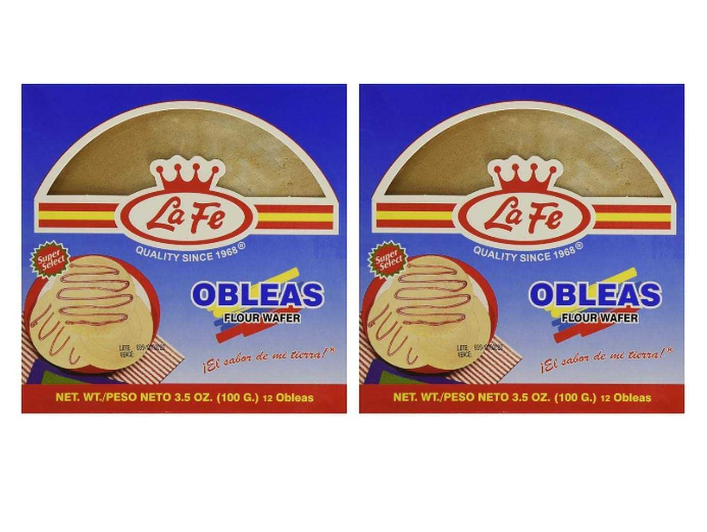 La Fe Obleas - Flour Wafer Delicious Colombian Mexican Venezuelan Snack - Perfect to Spread with Chocolate, Arequipe, Jelly Jam, Caramel - (2 packs, 7.05 oz)
