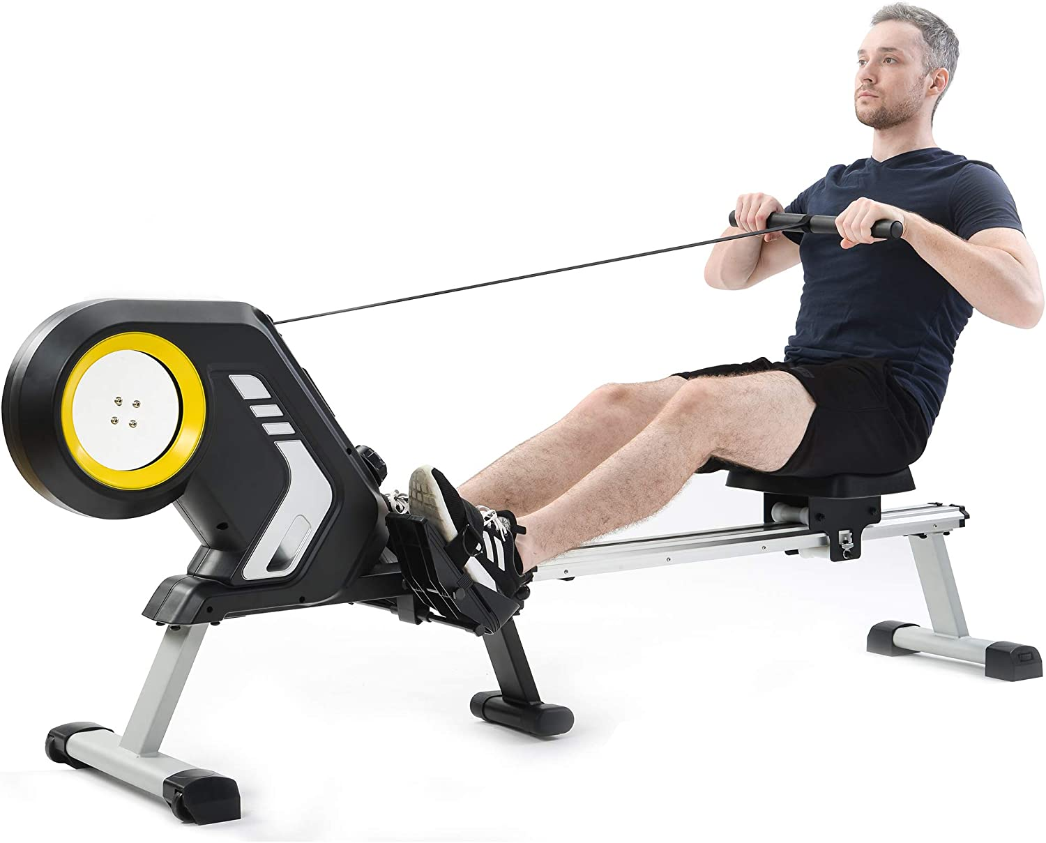 Magnetic Rowing Machine Rower with LCD Monitor, 12 Level Adjusta