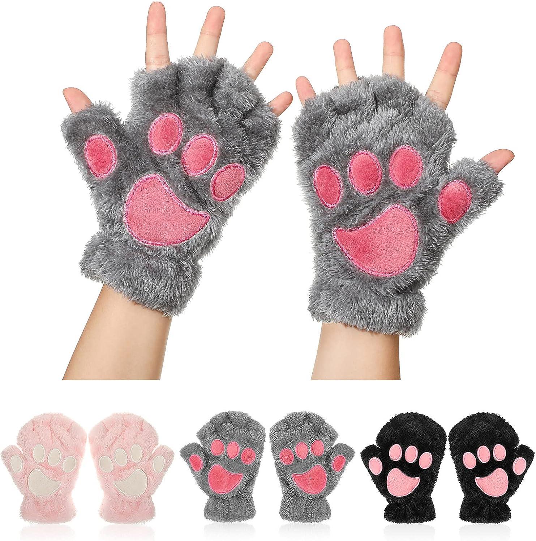 3 Pairs Cat Paw Gloves Fingerless Faux Fur Plush Gloves Mittens Winter Warm Half Finger Gloves Cute Cat Paw Cosplay Gloves Fuzzy Plush Gloves for Women Girls
