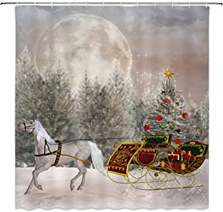 AMNYSF Christmas Eve Decor Shower Curtain Xmas Trees Gifts Horse Carriage Full Moon Fantasy Winter Snow Landscape New Year Fabric Bathroom Curtains,70x70 Inch Waterproof Polyester with Hooks