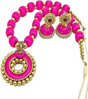 GOELX Popular Pink Pendant Silk Thread Necklace Set Indian Style Designer Jhumki Earrings Set