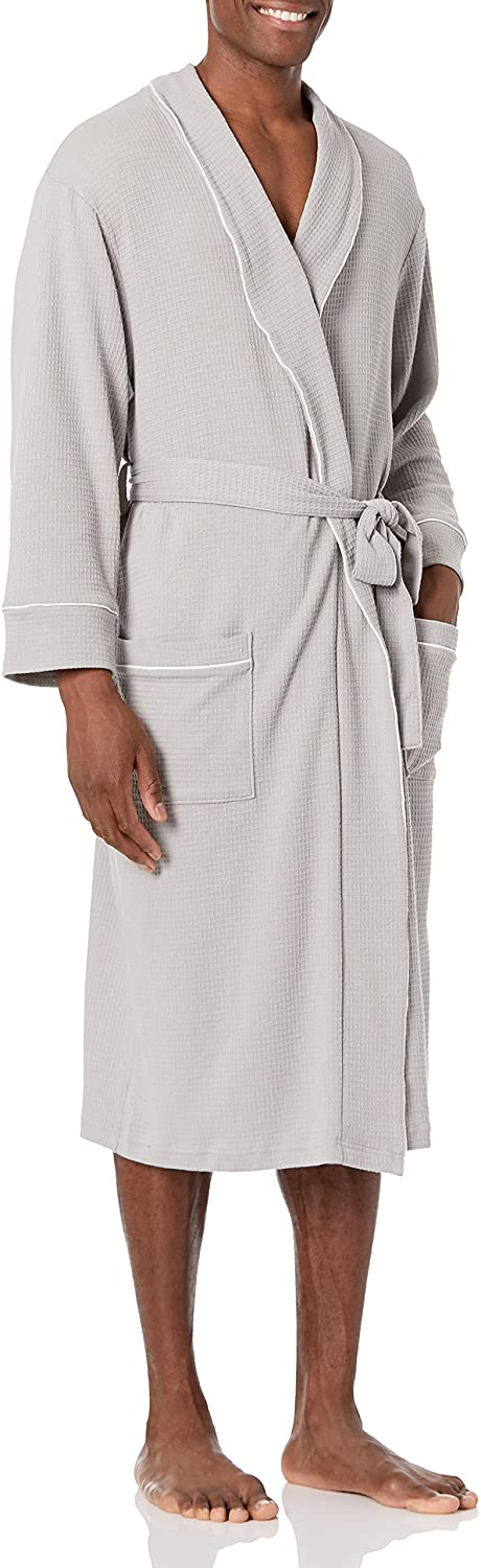Essentials Men's Waffle Shawl Robe : Clothing, Shoes & Jewelry