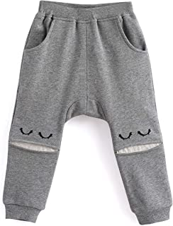 Aimama Baby Toddler Boys Pants, Cotton Harem Ankle Sweatpants Dark Gray for 12M-6T Baby Boys