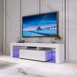 FitnessClub - Mueble de TV con luz LED para Sala de Estar, hogar, Muebles, Cuerpo Mate y Puerta de Alto Brillo con luz LED 130 * 35 * 45CM Blanco
