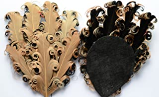 Lyracces Lots 6pcs Artificial Curly Goose Nagorie Feather Pad Plume Appliques Trim for Toddlers Child Girls Headbands (Brown With Black)