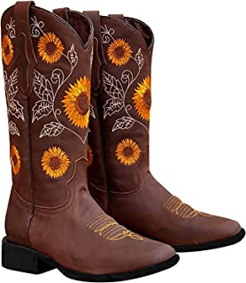 Sponsored Ad - SO SIMPOK Women's Retro Western Cowboy Boots Butterflies Embroidered Mid Calf Chunky Heel Boots