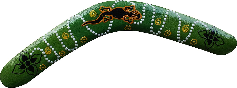 Lizard 15.5inch Green 39cm from Side to Side RaanPahMuang Brand Thai Made Australian Aboriginal Art Decorative Boomerang