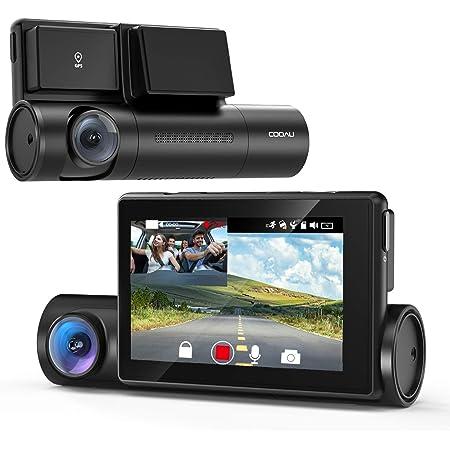 COOAU ドライブレコーダー 1080P前後カメラ 車内カメラ 1200万画素 WiFi機能 GPS搭載 スーパーナイト LED信号機対応 電波干渉ノイズ対策済み 3インチOLEDタッチパネル 左右反転鏡像修正 音声記録 WDR 配線不要 煽り運転防止 小型ドラレコ (black) (black)