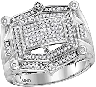 Dazzlingrock Collection 10kt White Gold Mens Round Diamond Rectangle Cluster Studded Ring 1/2 ctw