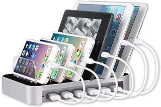 MixMart 6ポートUSB充電器 6台同期 同時充電 充電ステーション デスクトップ 充電スタンド iPhones/iPad/Nexus/Galaxy/タブレットPC スマートフォンなど充電対応 シルバー