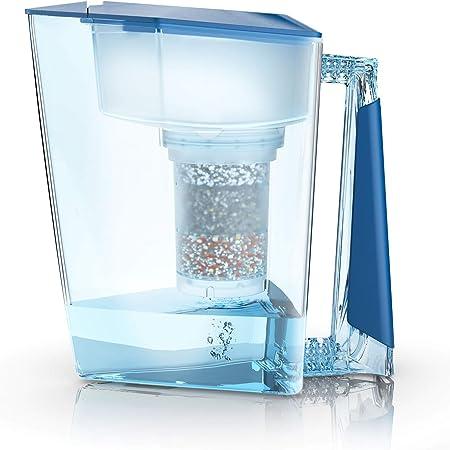 Maunawai Filtre à eau premium bio fabriqué en Allemagne avec 1 carafe + 1 cartouche filtrante et des recharges (pour 3mois)– En bleu clair
