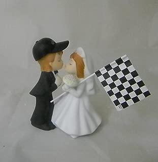Wedding Reception Race Car Racing Flag Kissing Couple Cake Topper