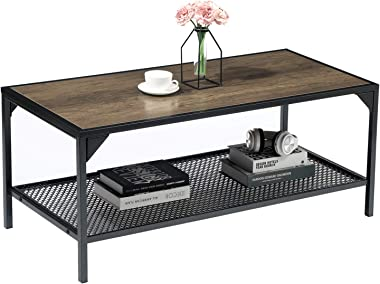 GreenForest Coffee Table with Storage Mesh Shelf for Living Room, Farmhouse Style, Easy Assembly, Rustic Walnut