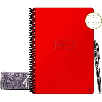 Rocketbook Core Quaderno Smart – Cancellabile, Riutilizzabile – Compatibile con Sistemi Cloud – Taccuino Digitale - Penna Pilot Frixion e Panno Inclusi (Rosso, Executive A5, Puntinato)