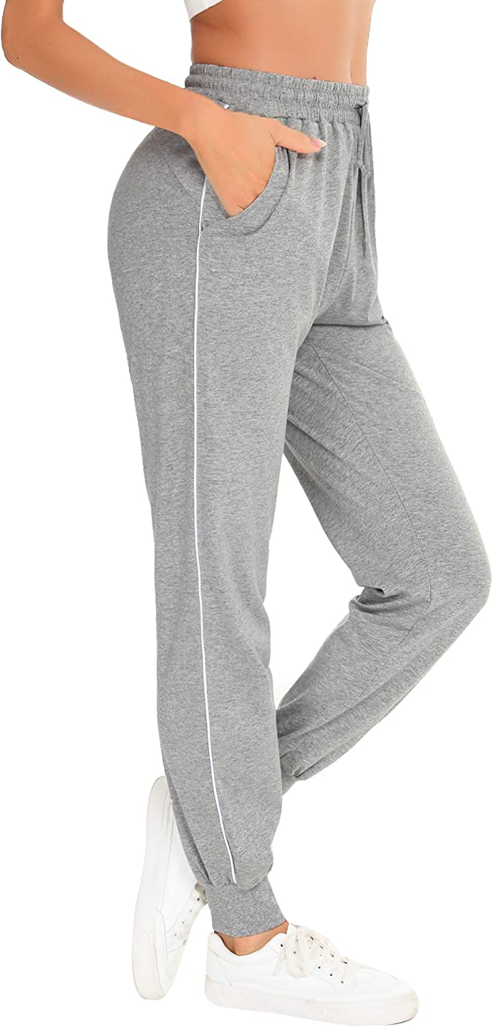 Aibrou Womens Jogger Pants 100/% Cotton Tracksuit Bottoms Sweatpants Drawstring Waist with Pockets for Running Workout Gym Yoga