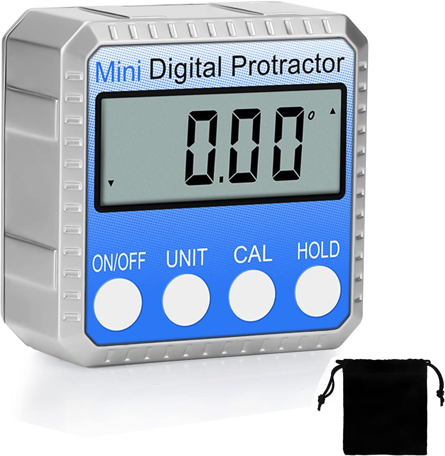 zerotop Inclinómetro Digital Protractor 4 * 90 ° Nivel Buscador de ángulos de Caja Retroiluminación Indicador de nivel Indicador de bisel con base magnética para Carpintería Automóviles