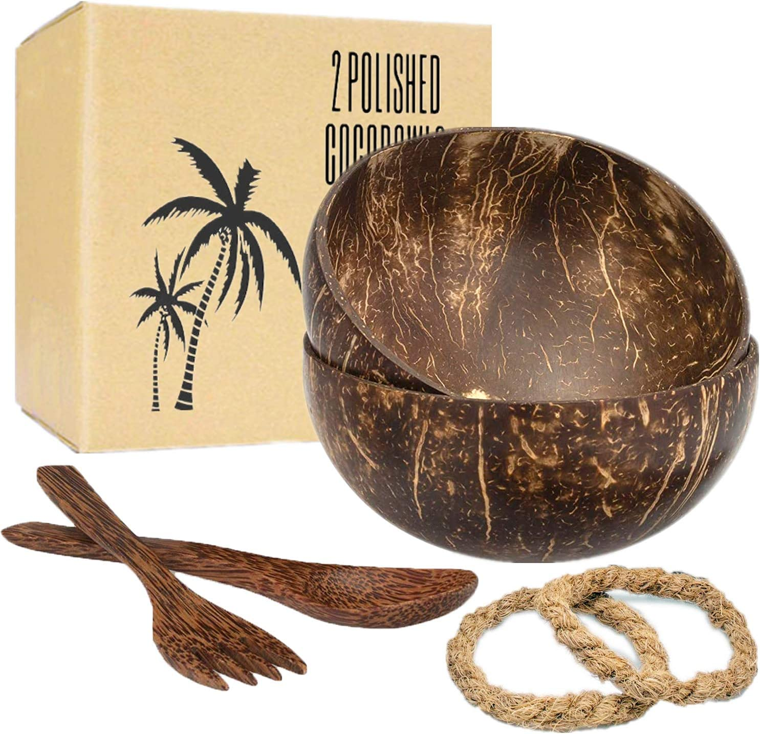 RoserRose Set de 2 Boles de Coco con Cubiertos, Buddha Bowl, Coconut Bowl, Cuenco de Madera, 100% Natural, Ecológico y Sostenible, Hecho a Mano, Tazones de Coco Natural