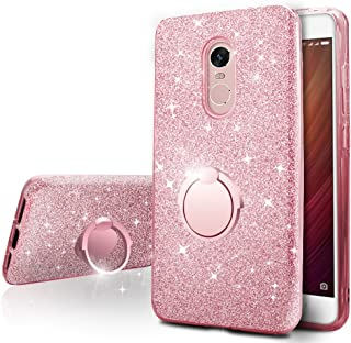 Xiaomi Redmi Note 4 / 4X Case,Silverback Girls Bling Glitter Sparkle Phone Case With 360 Rotating Ring Stand, Soft TPU Outer Cover + Hard PC Inner Shell Skin for Xiaomi Redmi Note 4 / 4X -Rose Gold