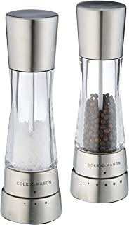 Cole & Mason Gourmet Precision Derwent Salt and Pepper Mill Gift Set, Stainless Steel and Acrylic, 19 cm