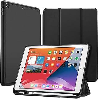 ESR iPad 8 ケース 2020 iPad 10.2 ケース 第7世代 2019 ペンシル収納可能 ソフトフレキシブル 耐衝撃 傷防止 オートスリープ ウェイク ペンシルホルダー付き 三つ折りスタンド iPad 10.2インチ用 ブラック