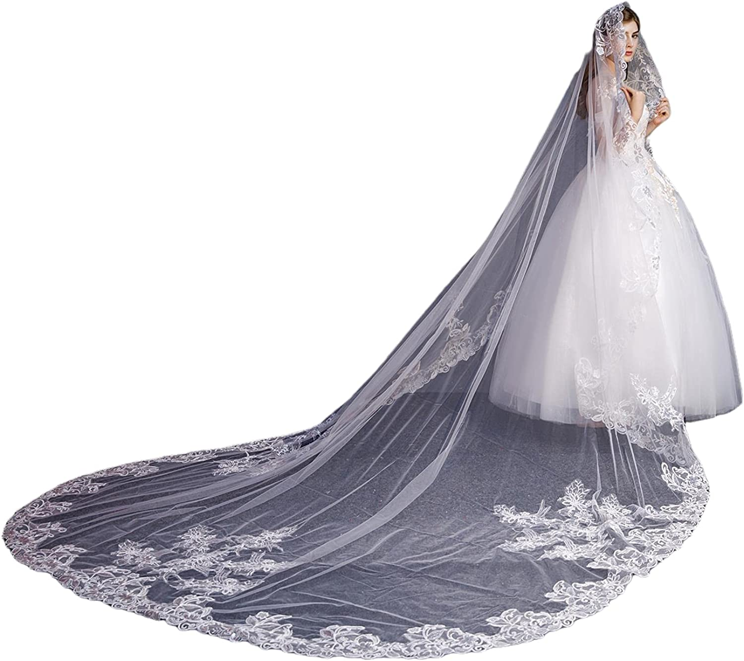 Weddings Veils 1 Tier Long Cathedral lace with Sequins Applique bride with Comb