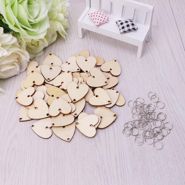 PoityA Solid Wooden Love Heart Slices Metal Rings for DIY Birthday Board Calendar 50Pcs