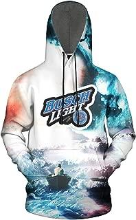 FUEWJFDIW 3D Printed Galaxy Fleece Hooded Sweatshirt for Mens Busch-Light-Beer- Pullover Hoodie Sweatshirt