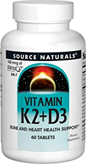 Source Naturals Vitamin K2 + D3 Bone & Heart Health Complex - 400 IU Vitamin D3 & 100 mcg Vitamin K2 (MK-7) with Calcium -...