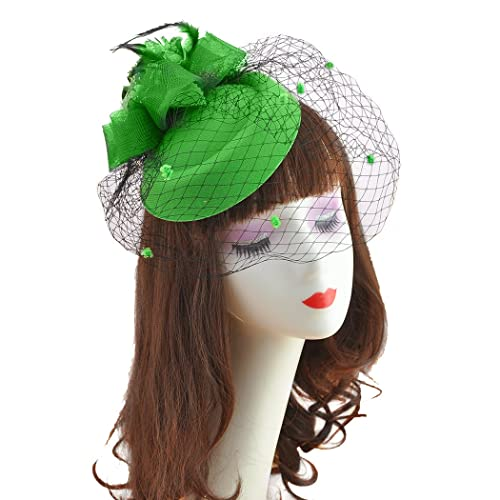 e251a9d49364ef dressfan Headband Fascinator Vintage Celebrity Woolen Mesh Head Flower Hat  headdress Veil Hat Head Hair Accessory