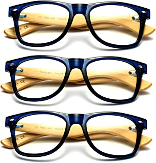 001f66df5cc61 Newbee Fashion - Real Bamboo Temples Clear Frames Glasses Men Women Wooden  Frames