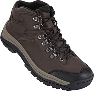 CAMEL CROWN Men's Hiking Trekking Boots Outdoor Mid-Top Hiking Shoes Non-Slip Leather Walking Shoes Trails Sneaker Brown Size: 9.5
