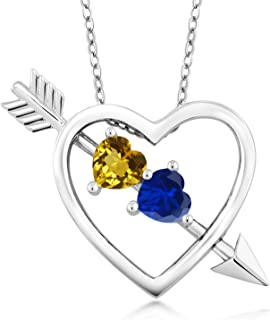 Gem Stone King 1.07 Ct Yellow Citrine Blue Simulated Sapphire Silver Heart and Arrow Pendant
