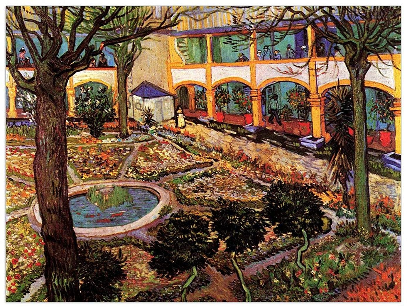 ArtPlaza TW90920 Van Gogh Vincent - The Courtyard of The Hospital at Arles Decorative Panel 35.5x27.5 Inch Multicolored