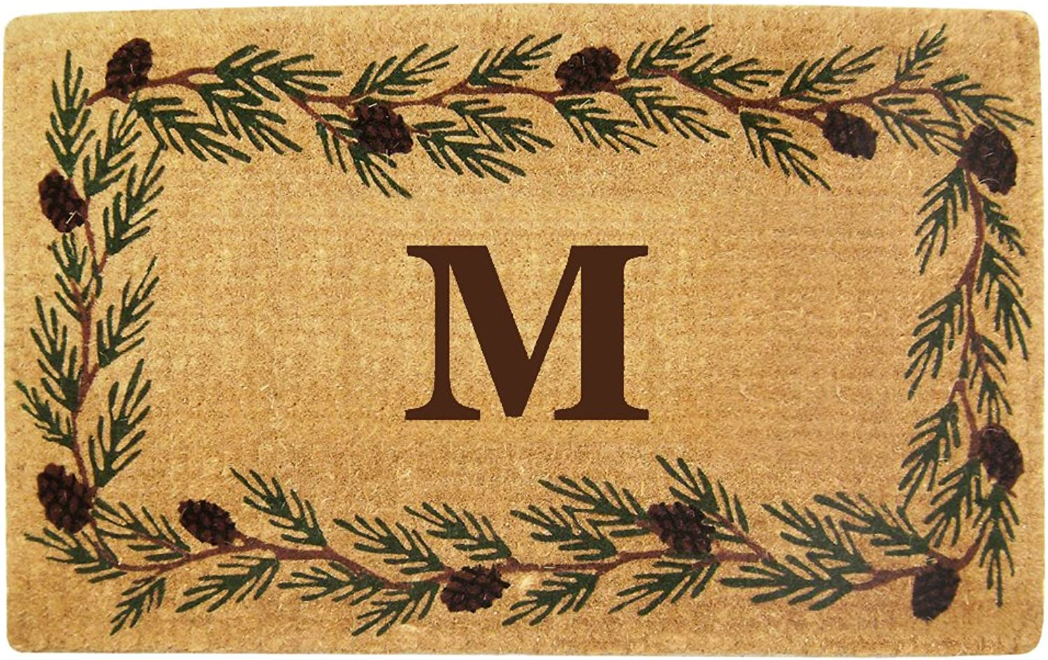Nedia Home Heavy Duty Coco Mat with Evergreen Border, 30 by 48-Inch, Monogrammed M