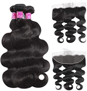 Celie Brazilian Human Hair Body Wave 3 bundles with 13×4 Lace Closure 9A Virgin Human Hair Natural Color(16 18 20+14 Frontal)