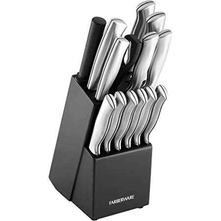 OSTER Baldwyn 14PC High Carbon Kitchen Stainless Steel Cutlery Block Set NEW