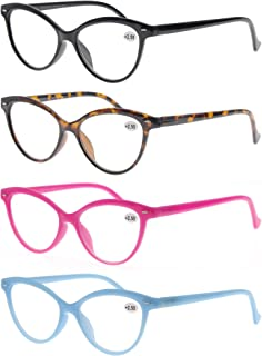 Women Reading Glasses 2.25 4 Pack Fashion Colors Cat Eye Readers for Ladies Compact Spring Hinge Lightweight Frame Includes Pocket