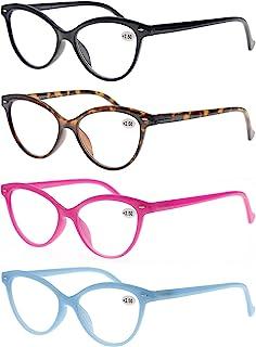 MODFANS Un Pack de Cuatro Gafas de Lectura 3.5 para Mujeres - Buena Vision Ligeras Comodas,Vista de Cerca/Vista Cansada,Cat Eye,Colores Negro-Marron-Rosa-Azul
