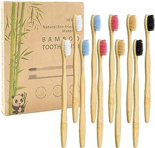 Bamboe tandenborstel, verpakking van 10 stuks, 5 kleuren, natuurlijke zachte borstelharen, biologisch afbreekbaar, milieuv...