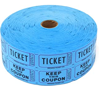 Indiana Ticket Company Consecutively Numbered Double Ticket Roll, Blue, 2000 Tickets per Roll
