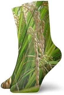 tyui7, Calcetines de compresión antideslizantes de paisaje de arroz dorado orgánico Calcetines deportivos de 30 cm acogedores para hombres, mujeres, niños