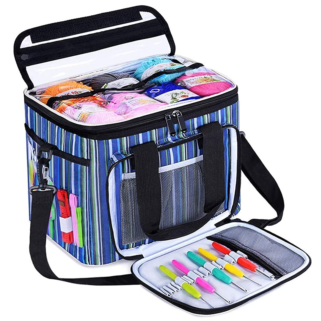 BONTIME Knitting Bag - High Capacity Striped Yarn Storage Tote Bag, Project Bags with Roomy Interior, Great for Organizing Everything You Need for Each of Projects, Medium