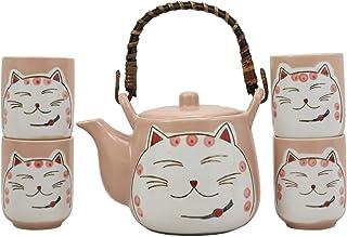 Ebros Gift Japanese Design Maneki Neko Lucky Beckoning Cat Matte Pink 20oz Ceramic Tea Pot and Cups With Strainer Set Serv...