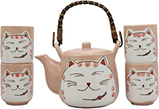 Ebros Gift Japanese Design Maneki Neko Lucky Beckoning Cat Matte Pink 20oz Ceramic Tea Pot and Cups With Strainer Set Service For 4 Excellent Home Decor Teapots Housewarming Birthday Feline Cats Gifts - coolthings.us