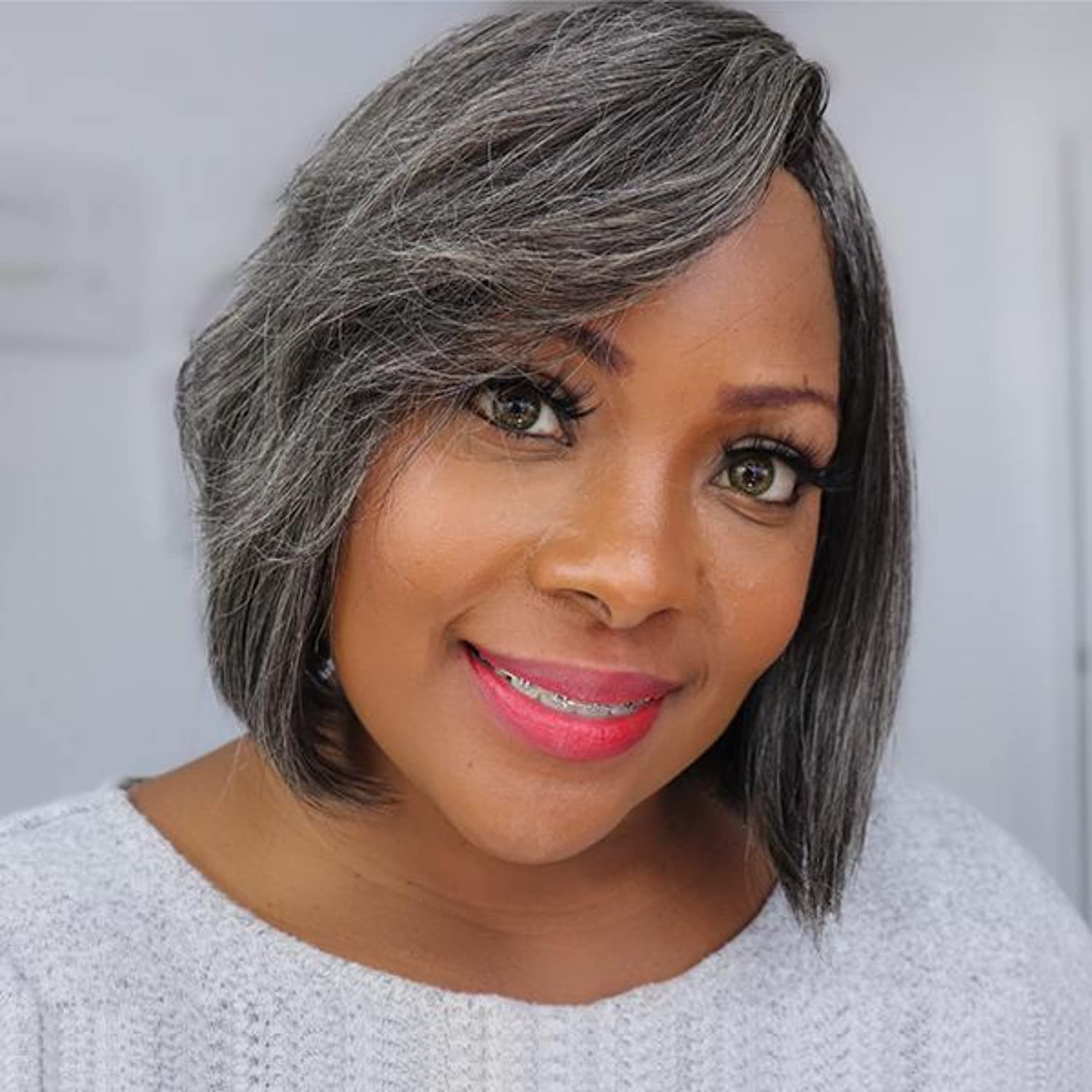 LuvMe Hair Factory outlet Black with Fashion Grey Bob 8 Human Bangs Wigs Wig